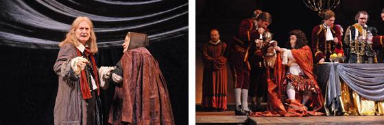 マールイ劇場の『モリエール』。右の写真がモリエール役のユーリー・ソローミン
